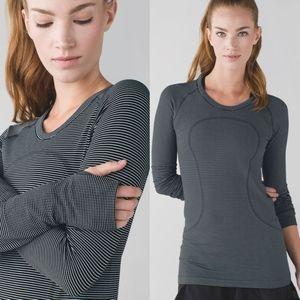 Lululemon Swiftly Tech Striped Long Sleeve Shirt